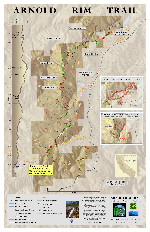 Arnold Rim Trail Map Arnold Rim Trail